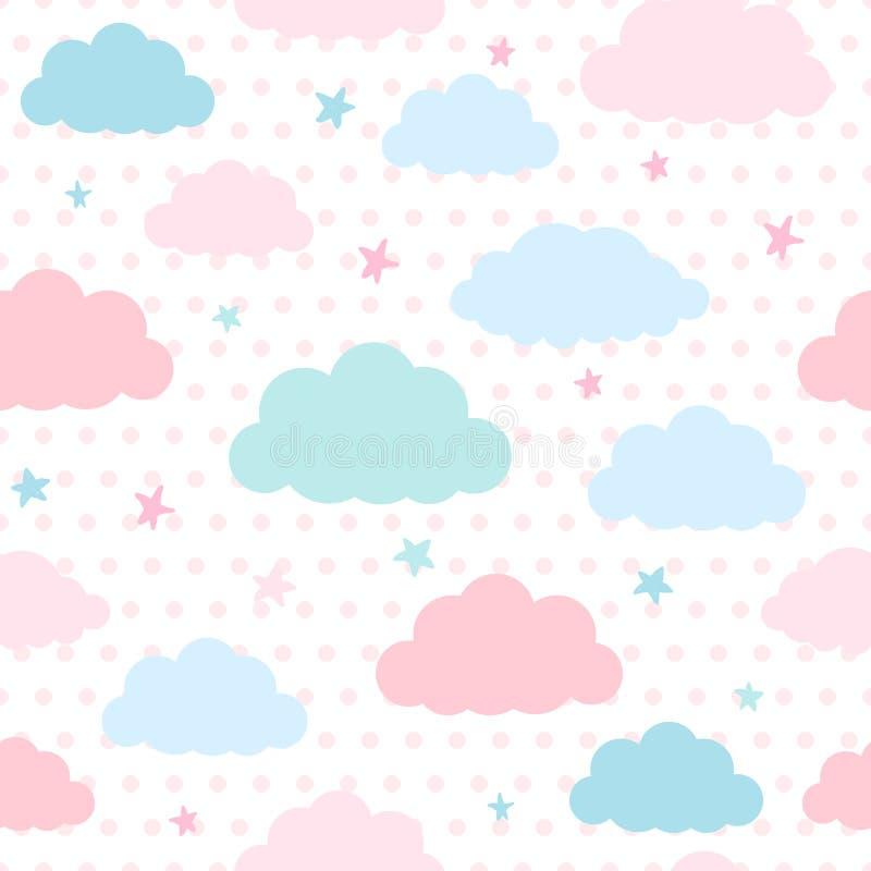 Ungebakgrund med moln och stjärnor royaltyfri illustrationer