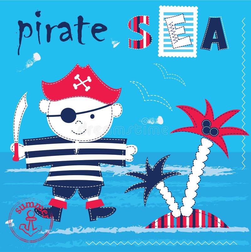 Ungebakgrund med piratkopierar royaltyfri illustrationer