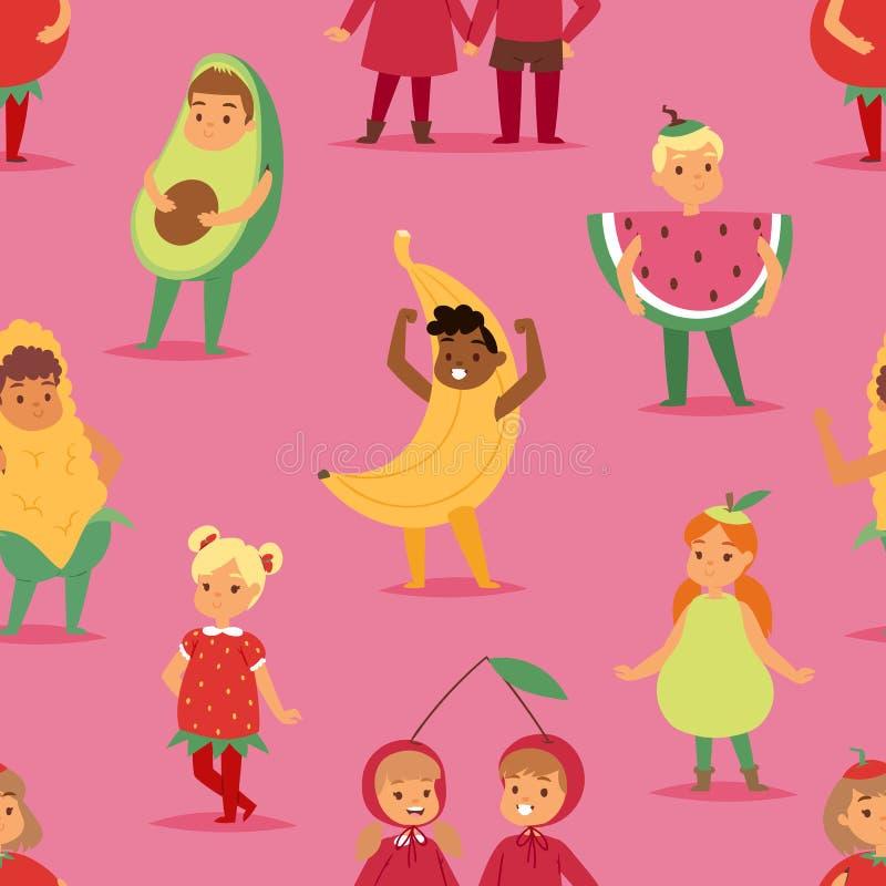 Ungebarn festar maskeringen för tecknade filmen för fruktdräktvektorn och klär festliga pojkar, och flickor önskar barndomungejul vektor illustrationer