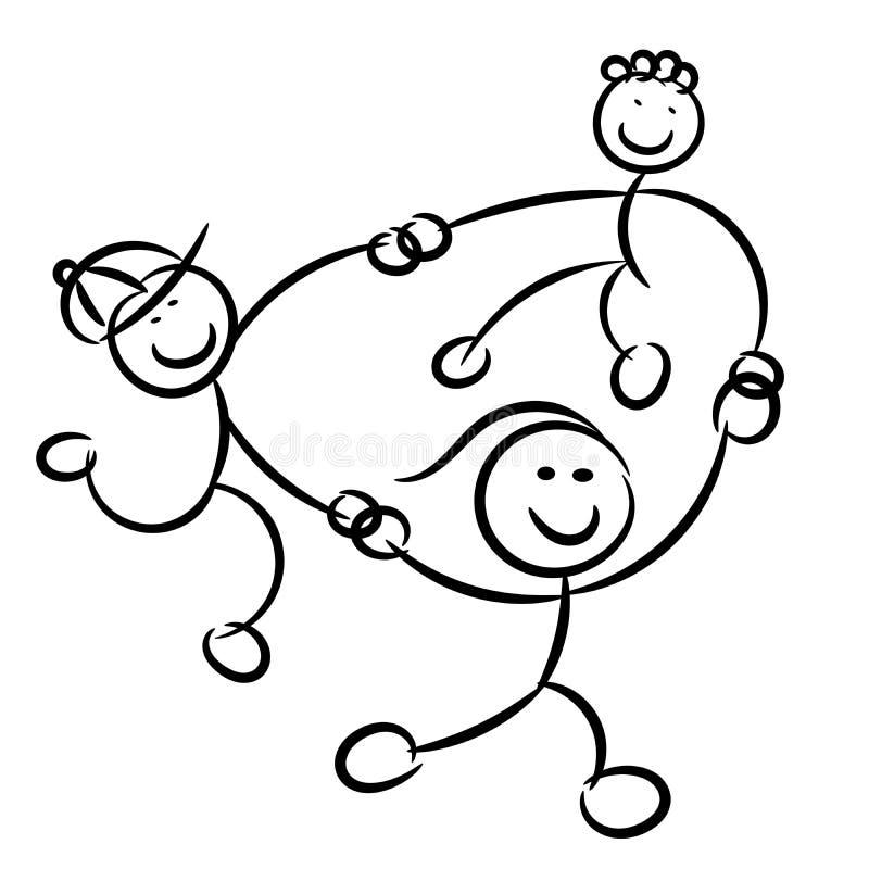 Ungebarn som spelar isolerade rosor för cirkelen-cirkel o' stock illustrationer