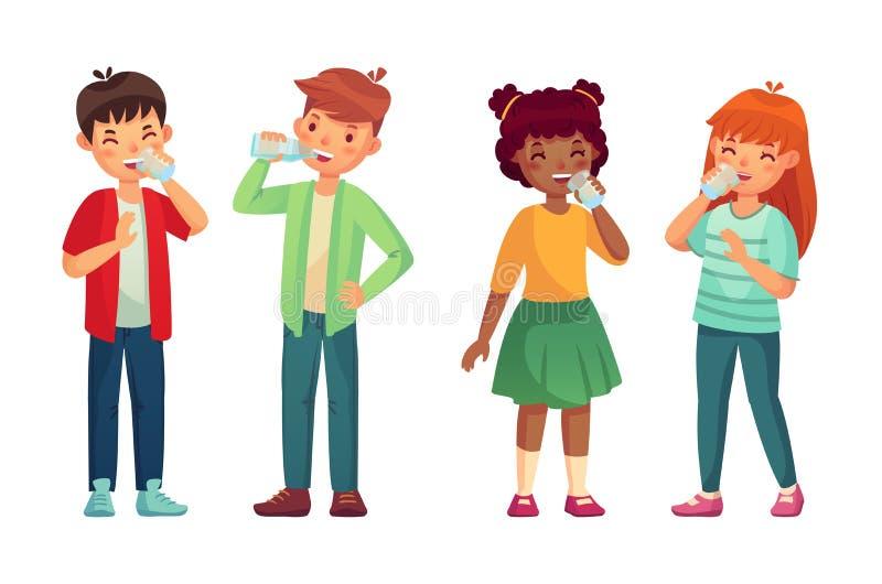 Ungedrinkexponeringsglas av vatten Lyckliga pojke- och flickadrinkar Barn som dricker hydrationnivån, att bry sig vektortecknad f stock illustrationer