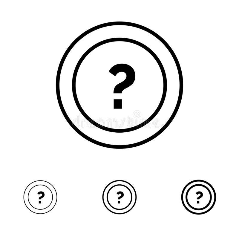 Ungefähr bitten Sie, der Informationen, der Frage, der Unterstützung mutige und dünne schwarze Linie Ikonensatz vektor abbildung