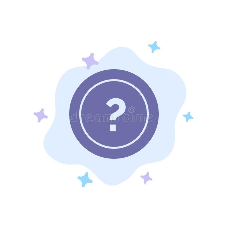 Ungefähr bitten Sie, Informationen, Frage, Stützblaue Ikone auf abstraktem Wolken-Hintergrund stock abbildung