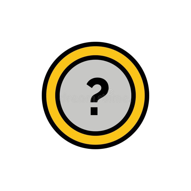 Ungefähr bitten Sie, Informationen, Frage, Stützflache Farbikone Vektorikonen-Fahne Schablone lizenzfreie abbildung
