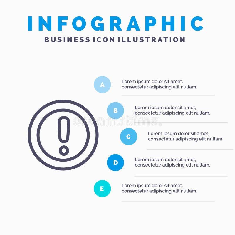 Ungefähr Informationen, Anmerkung, Frage, Deckungslinie Ikone mit Hintergrund infographics Darstellung mit 5 Schritten stock abbildung