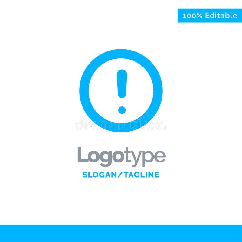 Ungefähr Informationen, Anmerkung, Frage, Unterstützung blauer fester Logo Template Platz f?r Tagline stock abbildung