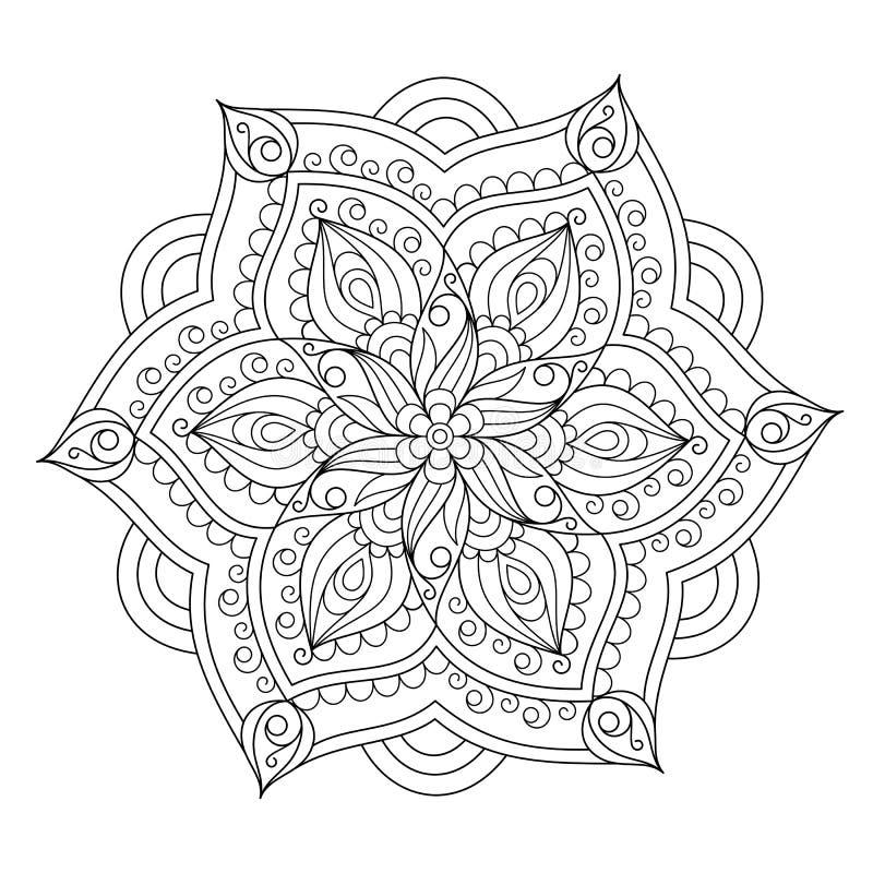 Ungefärbte kopierte Entwurfs-Mandala für Seite des Malbuches lizenzfreie abbildung