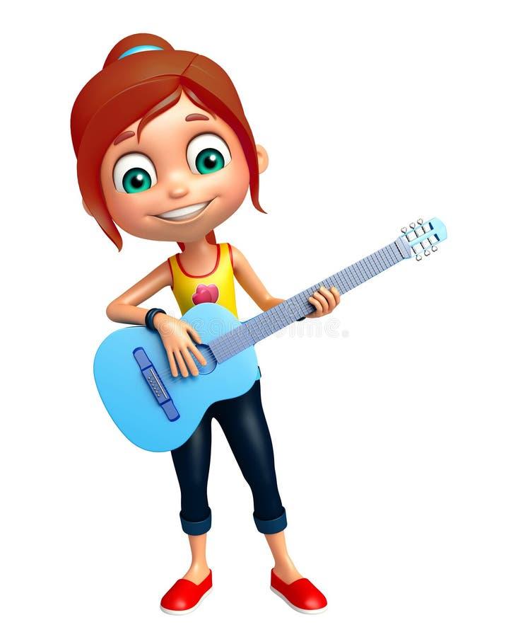 Ungeflicka med gitarren royaltyfri illustrationer