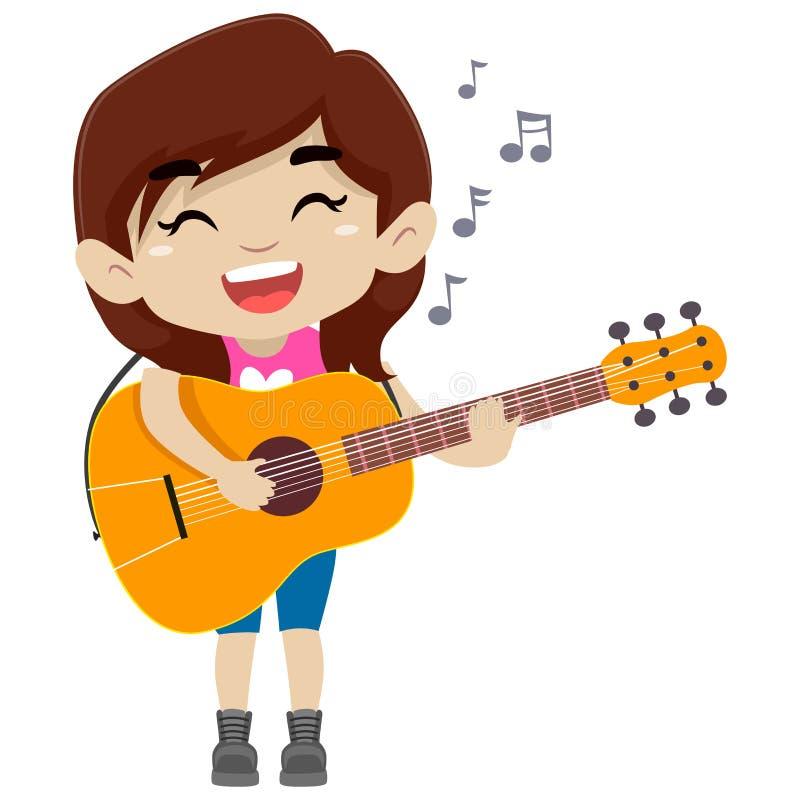Ungeflicka som rymmer och spelar en gitarr vektor illustrationer