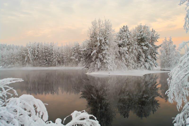 Ungefrorener See in den Winterwäldern stockbild
