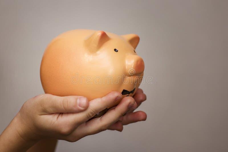 Ungehåll en svinbank, sparande pengar för det framtida utbildningsbegreppet gruppflicka som rymmer little piggy fotografering för bildbyråer