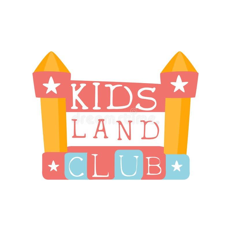 Ungelandlekplats och tecken för Promo för underhållningklubba färgrikt med att studsa slotten för det spela utrymmet för barn stock illustrationer