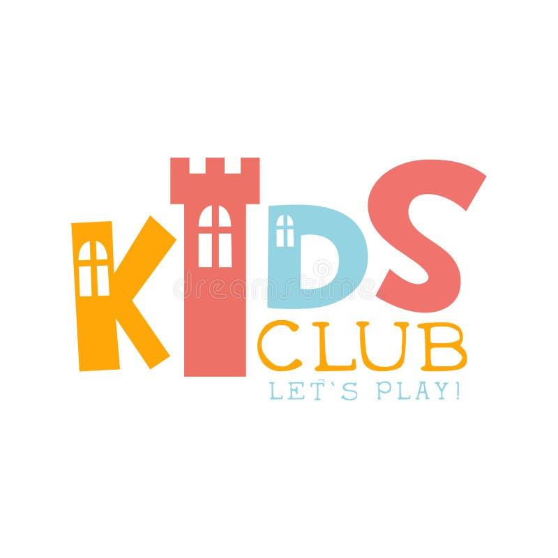 Ungelandlekplats och tecken för Promo för underhållningklubba färgrikt med Toy Castle For The Playing utrymme för barn royaltyfri illustrationer