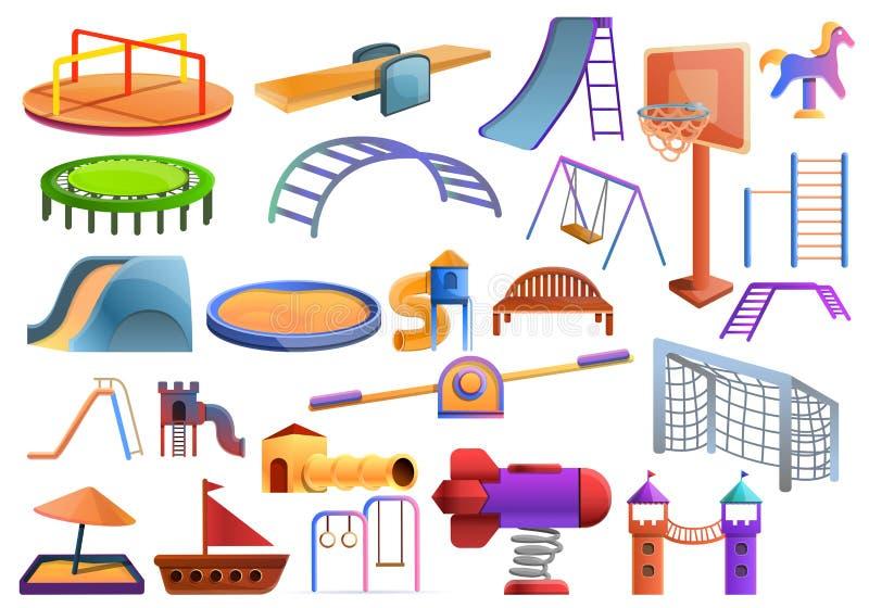 Ungelekplatssymboler uppsättning, tecknad filmstil royaltyfri illustrationer