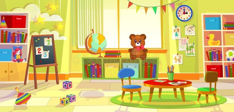 Ungelekrum Hyr rum det modiga klassrumet för dagisbarnlägenheten som lär leksaker, förskole- grupptabellstolar stock illustrationer