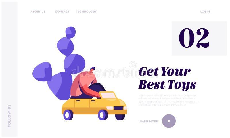 UngeleksakerWebsite som landar sidan Man som kör bilen för små ungar för den roliga vuxna spela modiga utgifter Tid som för barn  royaltyfri illustrationer