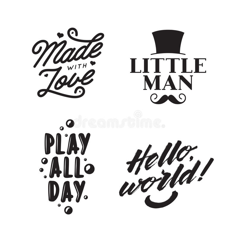 Ungen beklär typografitryck Tappningvektorillustration stock illustrationer