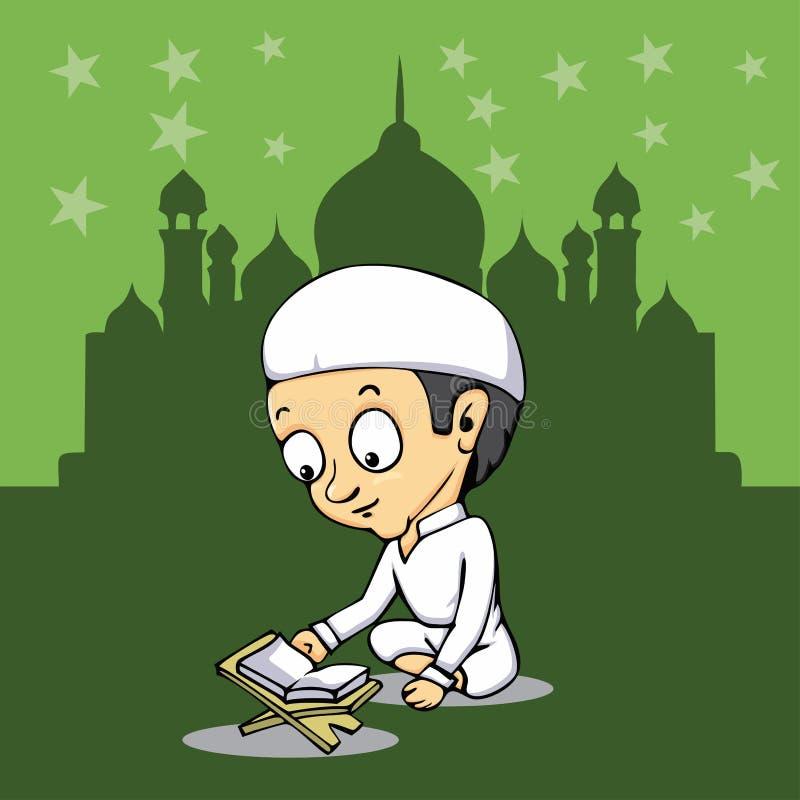 Ungen läste helig quranqoranislam i moské royaltyfri illustrationer