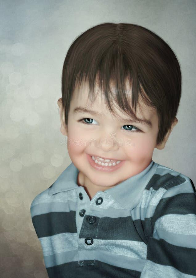 Ungen med ett leende på hans framsida arkivbilder