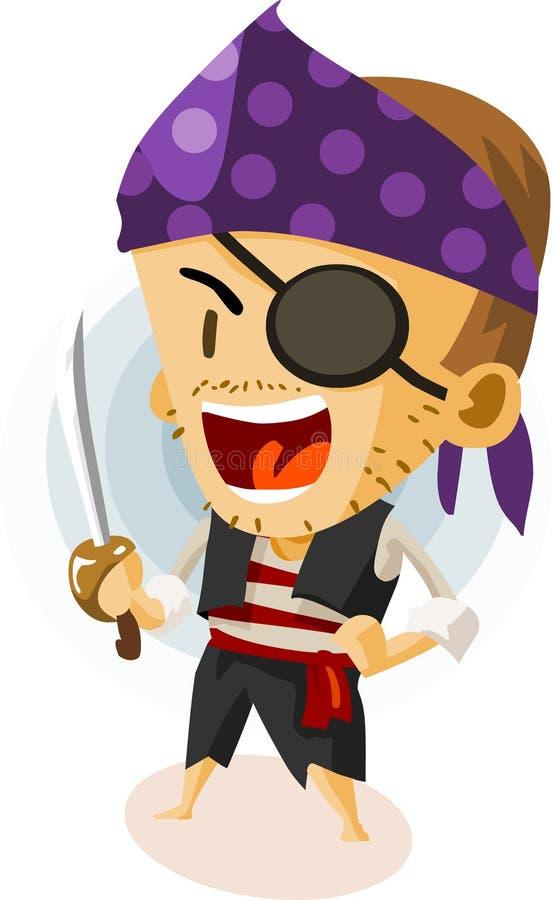 ungen piratkopierar spelrum royaltyfri illustrationer