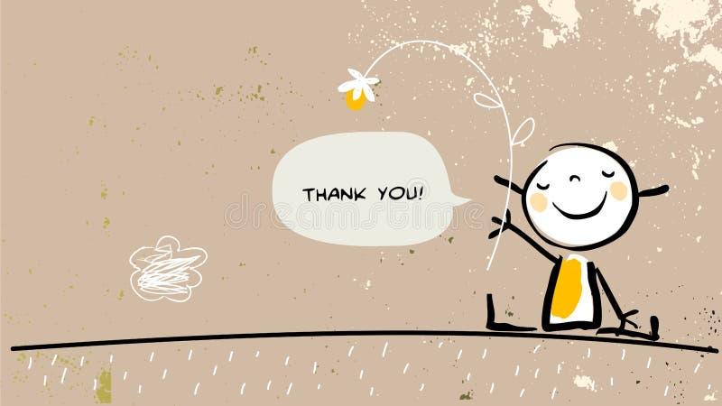 Ungen tackar dig royaltyfri illustrationer