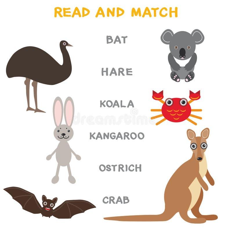 Ungeord som lär den modiga arbetssedeln, läser och matchar Bildande lek för rolig för djurslagträhare för koala för känguru krabb royaltyfri illustrationer
