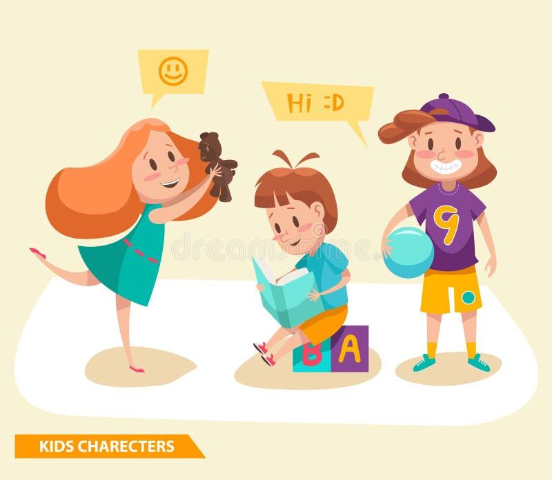 Ungepojkar och flickor som spelar teckendesign stock illustrationer