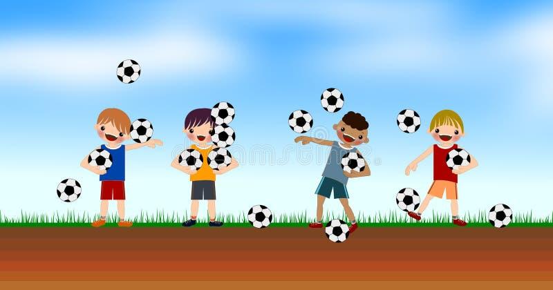 Ungepojkar spelar fotboll i gårdillustrationerna vektor illustrationer