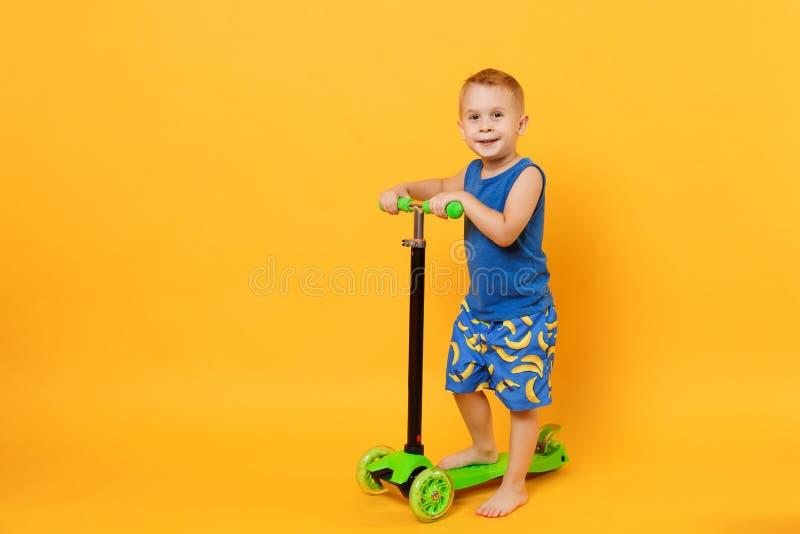 Ungepojke 3-4 år gammal bärande blå strandsommarkläder på sparkcykeln som isoleras på ljus gul orange väggbakgrund royaltyfri foto