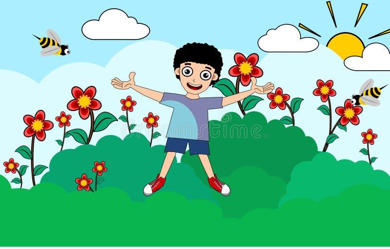 Ungepojke på illustrationer för sommartid vektor illustrationer
