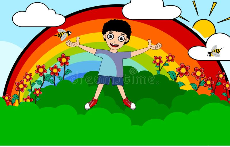 Ungepojke på sommartid vektor illustrationer