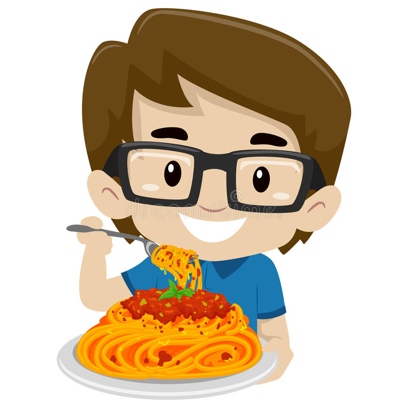 Ungepojke som äter spagetti royaltyfri illustrationer