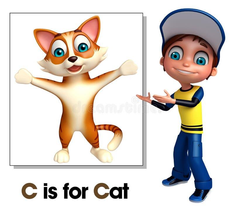Ungepojke som pekar katten royaltyfri illustrationer