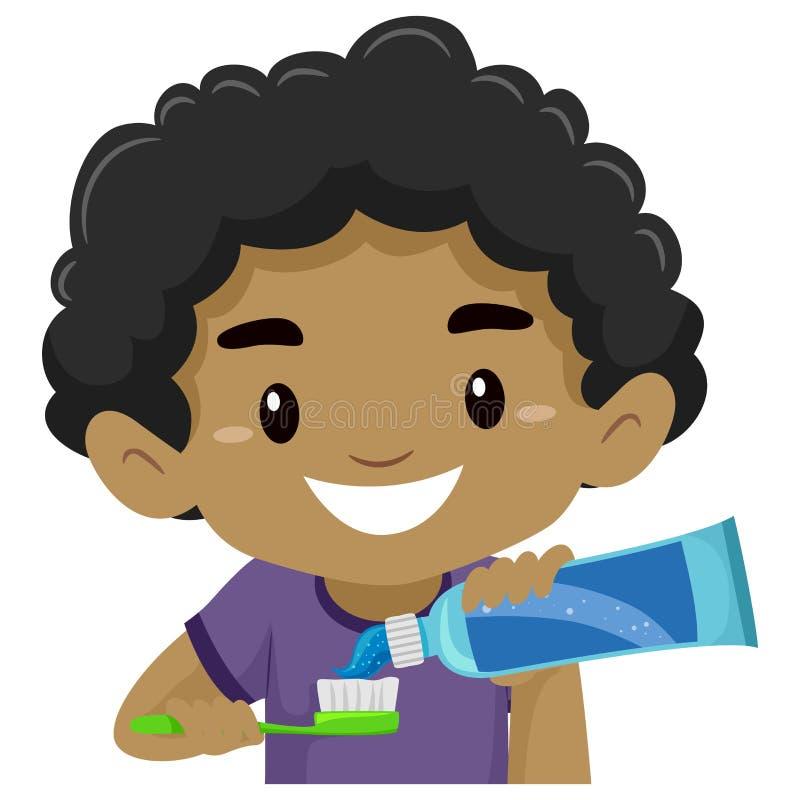 Ungepojke som sätter tandkräm på hans tandborste royaltyfri illustrationer