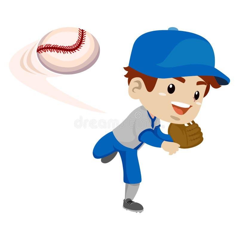 Ungepojkebasebollspelare som kastar bollen vektor illustrationer