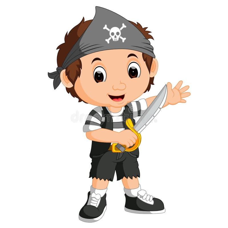 Ungepojken piratkopierar tecknade filmen stock illustrationer