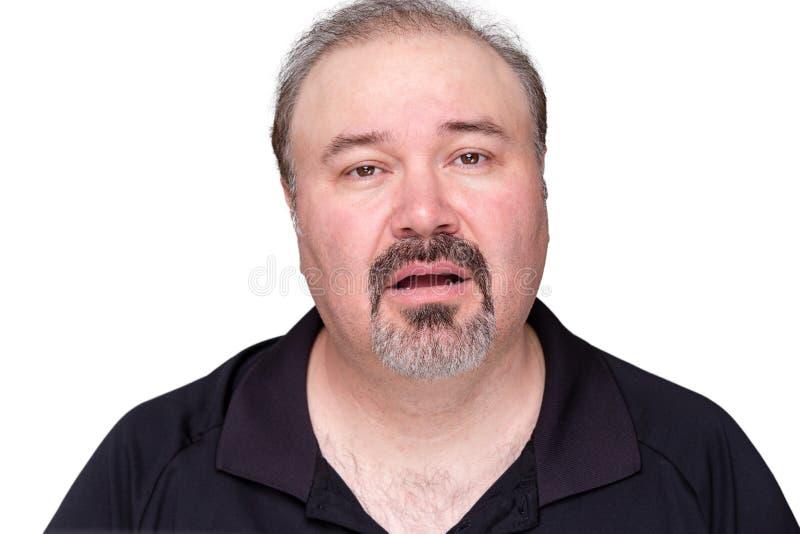 Ungerechtfertigter lethargischer Mann von mittlerem Alter lizenzfreie stockfotos