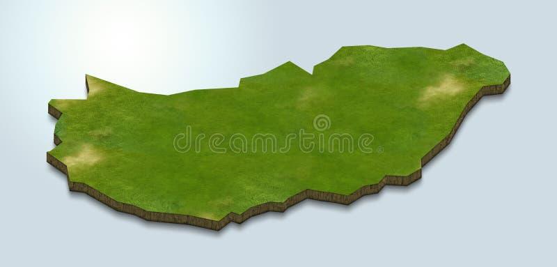 Ungernöversikten är grön på en blå bakgrund 3d stock illustrationer