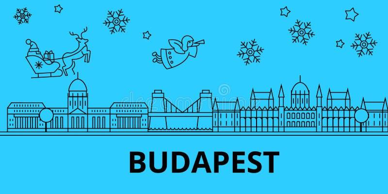 Ungern horisont för Budapest vinterferier Glad jul, det lyckliga nya året dekorerade banret med Santa Claus hungary stock illustrationer