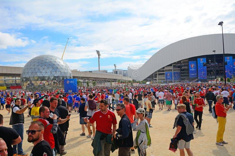 Ungern - Island på euroet 2016, Marseille, Frankrike royaltyfri fotografi