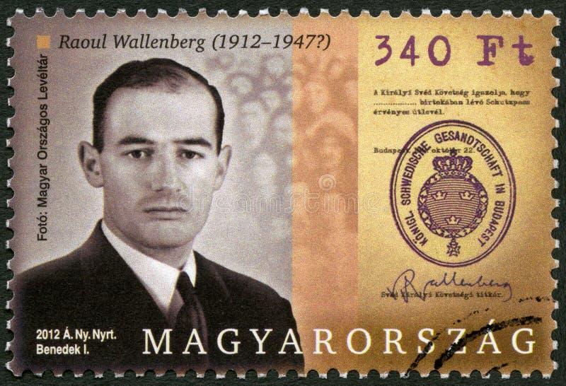UNGERN - 2012: shower Raoul Gustaf Wallenberg 1912-1945, svensk arkitekt, affärsman, diplomat och människovän fotografering för bildbyråer