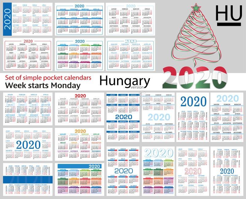 Ungern ställde in av fackkalendrar för 2020 stock illustrationer