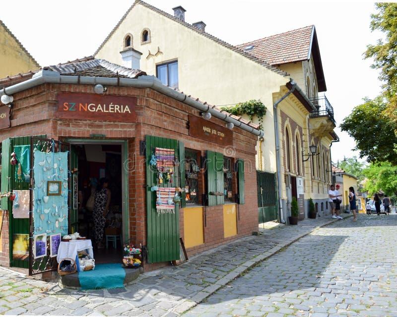 UNGERN SZENTENDRE - august 20, 2016: Gatasikt Shoppa av sou arkivfoto