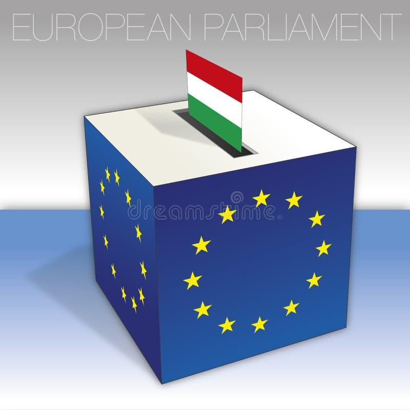 Ungern, val för europeisk parlament, valurna och flagga royaltyfri illustrationer