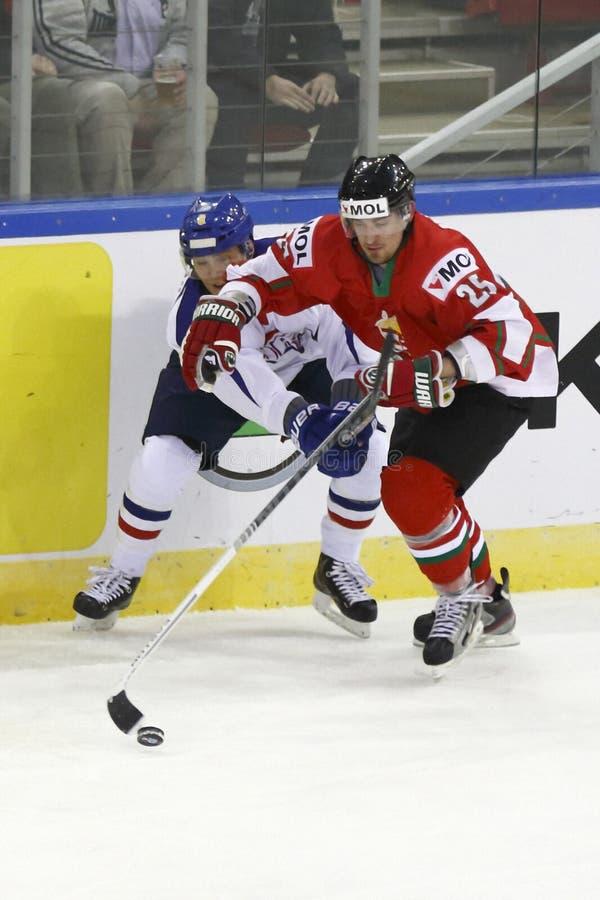 Ungern vs. match för ishockey för Korea IIHF världsmästerskap arkivbilder