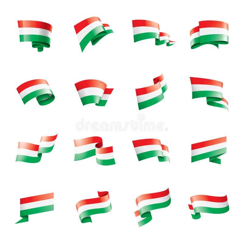 Ungernflagga, vektorillustration på en vit bakgrund stock illustrationer
