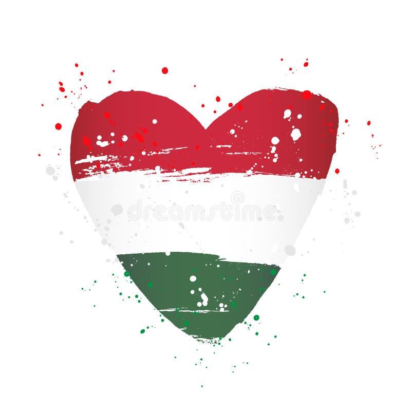 Ungersk flagga i form av en stor hjärta vektor illustrationer