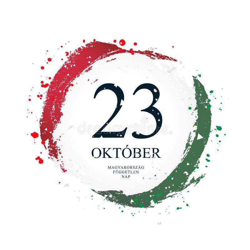 Ungersk flagga i formen av en cirkel Oktober 23 stock illustrationer