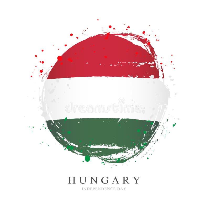 Ungersk flagga i formen av en stor cirkel stock illustrationer