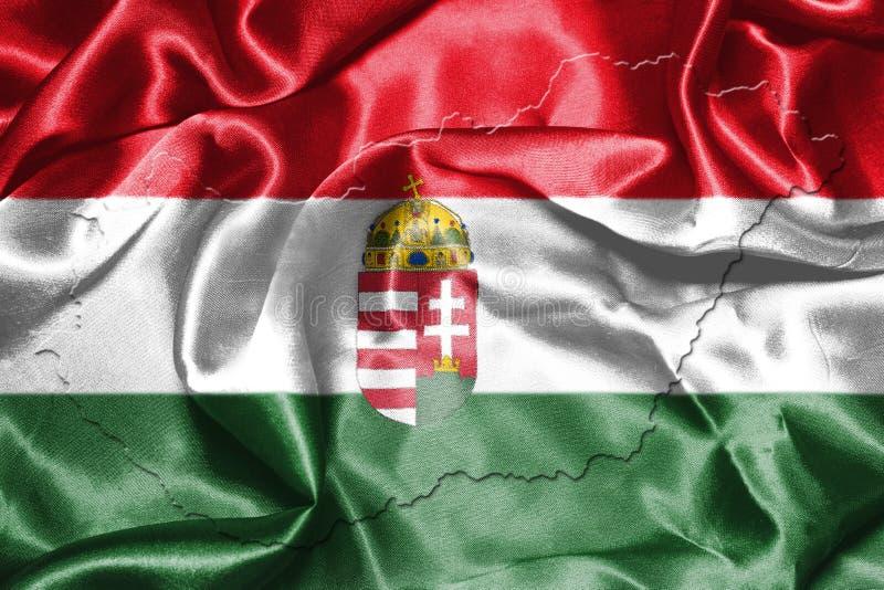 Ungersk nationsflagga och översikt som vinkar i illustratien för vind 3D royaltyfri illustrationer